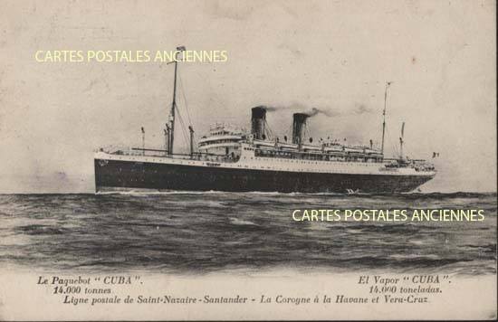 Old postcards boat sea Paquebots