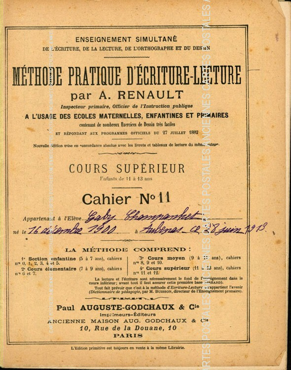 Old documents Cahier scolaire