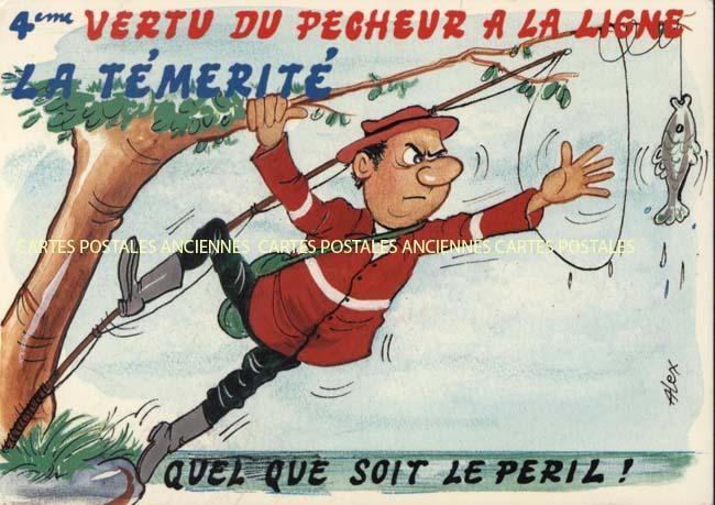 Old postcards humor Pêche Tournon Sur Rhone