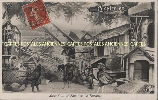 Old postcards fantasy Illustrator Chantecler