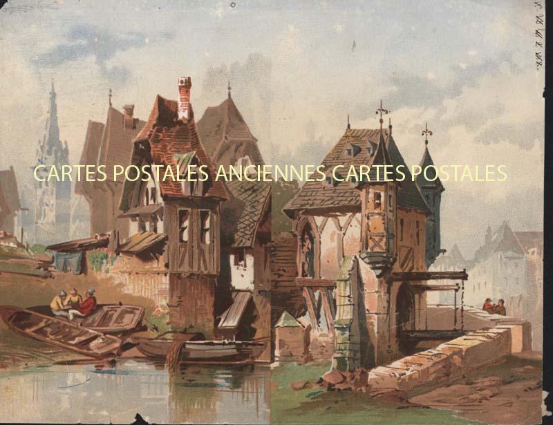 Old postcards fantasy Illustrator Iilustrateur pêche