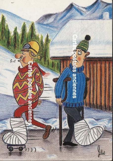 Old postcards humor Neige