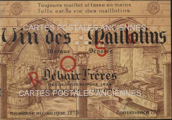 Cartes postales anciennes publicitaires   pub Etiquette vin