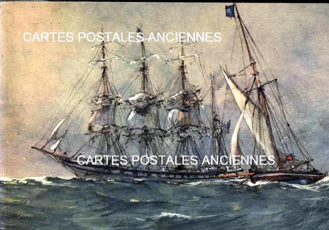 Old postcards boat sea Mer.