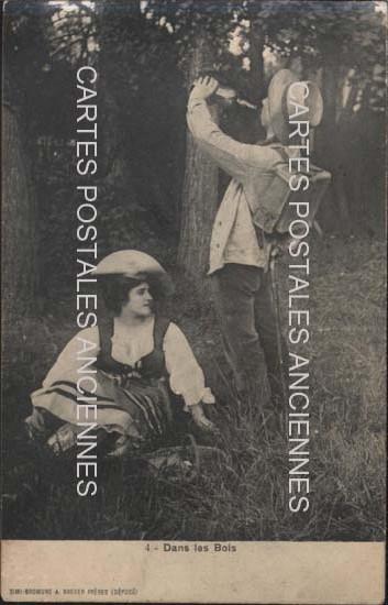 Old postcards fantasy personages Dans bois