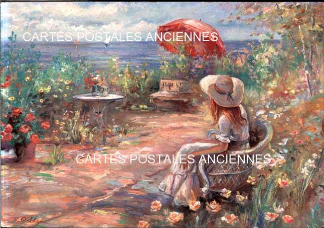 Old postcards landscape Paysage dessin