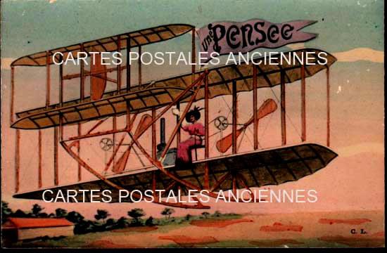 Old postcards fantasy Fancy plane