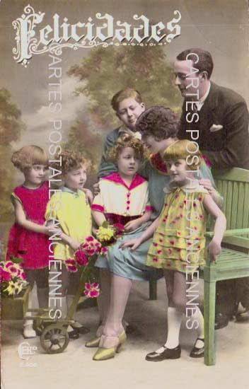 Old postcards fantasy personages Homme et enfants