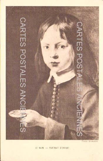 Old postcards painting, sculpture  portrait enfant