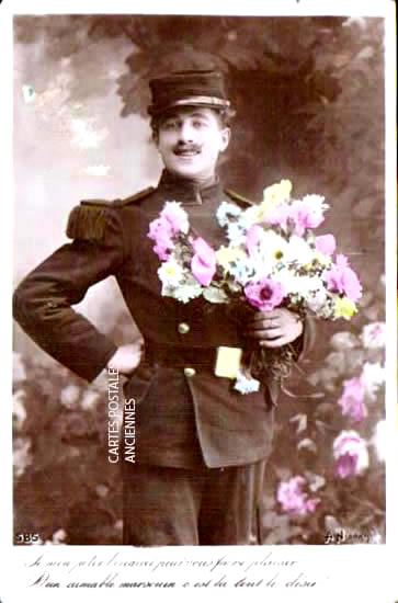 Old postcards military, army soldier Bataille Ampus