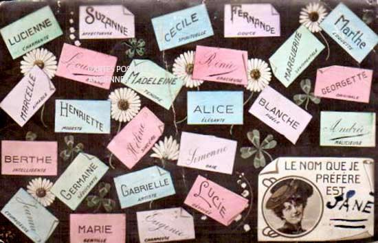 Cartes Postales Anciennes Fantaisie Prénom