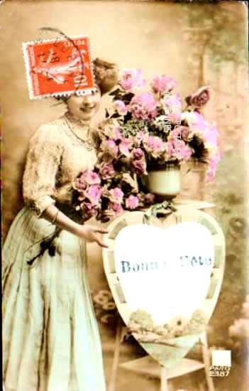 Old postcards fantasy personages Bonne fête