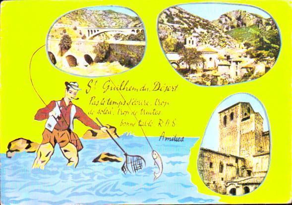 Old postcards humor Pêche