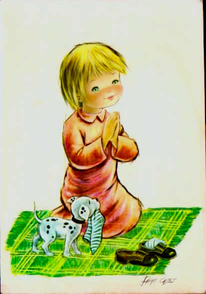 Old postcards humor Enfants.