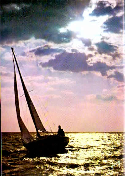 Old postcards boat sea Planche voile