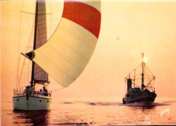 Cartes Postales Anciennes  bâteau mer Voiliers