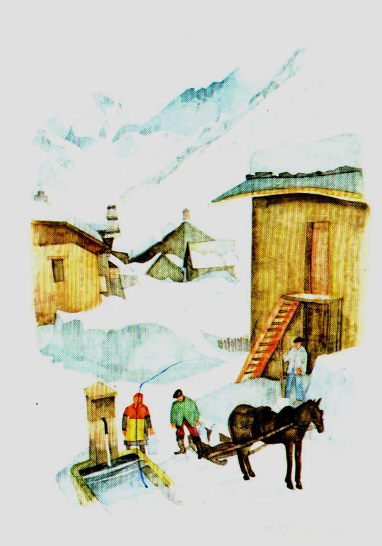 Old postcards landscape Neige