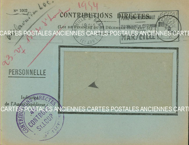 Timbres postes Collection stamps france France marque postale 1954