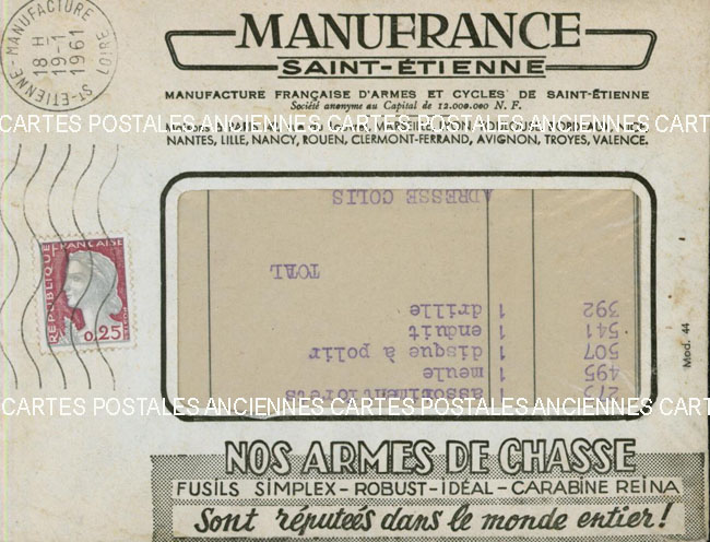 Timbres postes Collection stamps france France marque postale 1961