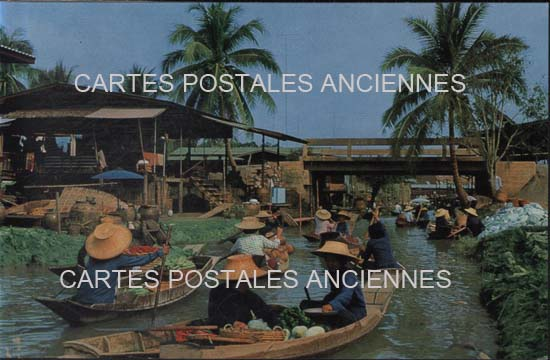 Cartes Postales Anciennes Monde Thailande Damnoen saduak