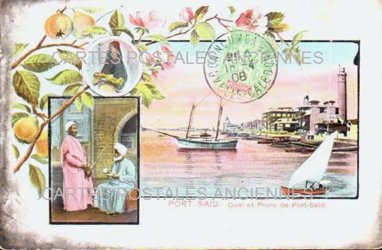 Old postcards world Egypt Port said