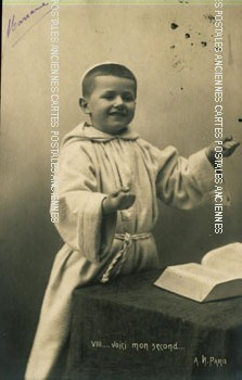 Old postcards fantasy personages Communion.