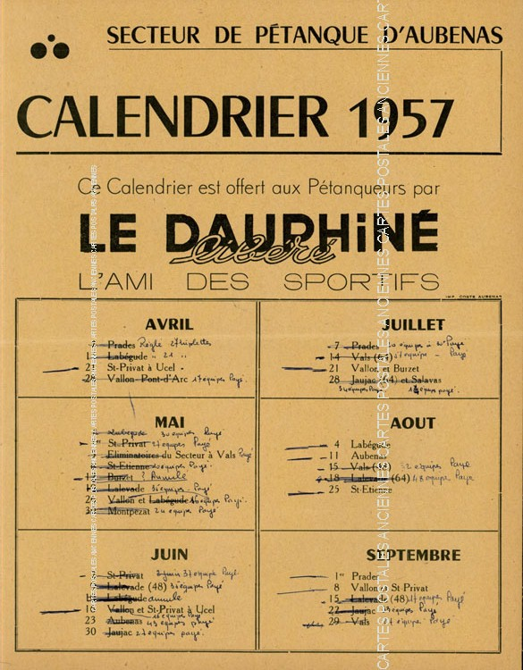 Postcards advertising Calendrier