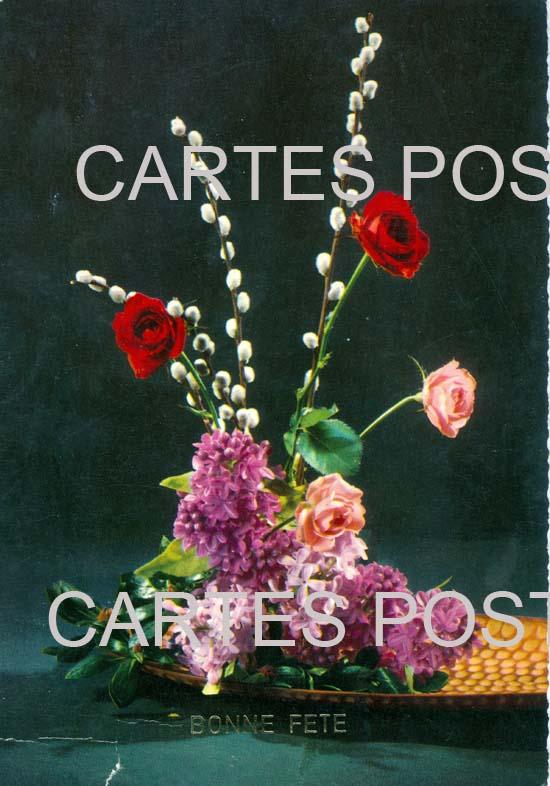 Old postcards fantasy Fleurs avec contenant