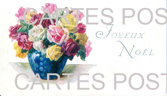 Cartes postales anciennes fantaisie Fleurs avec contenant