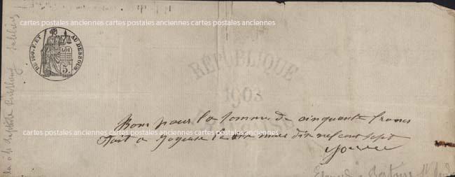 Cartes Postales Anciennes France Timbres fiscaux