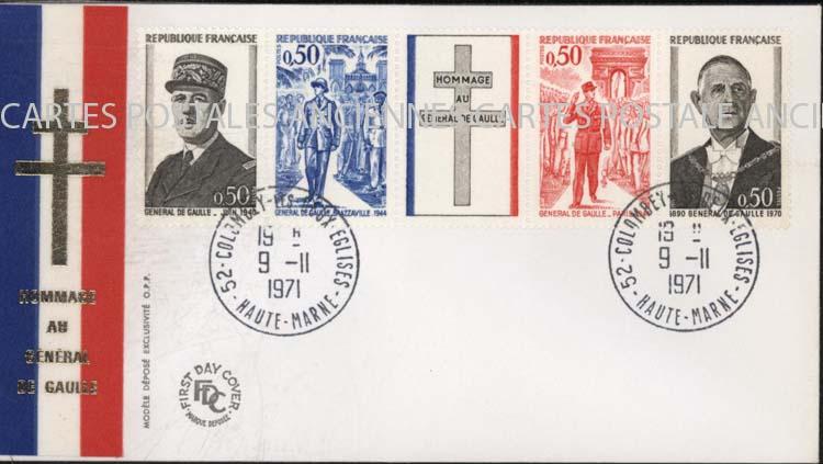 Cartes Postales Anciennes Timbres postaux france France timbres postal France premier jour de gaulle De gaulle 1971