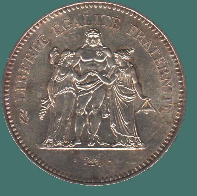 Banknote Of coins France pièces de 50fr argent