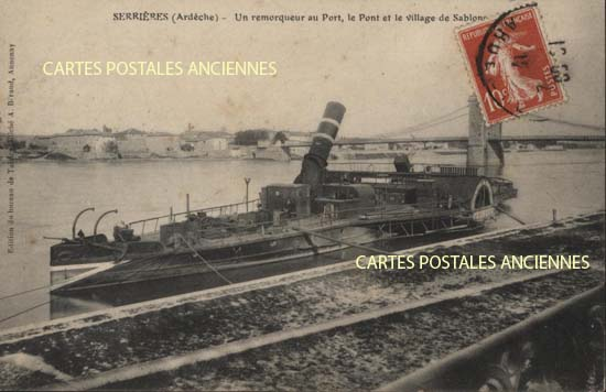 Rh�ne Alpes, 07 , Ard�che<br>Carte postale ancienne de l'Ard�che 07, Serri�res