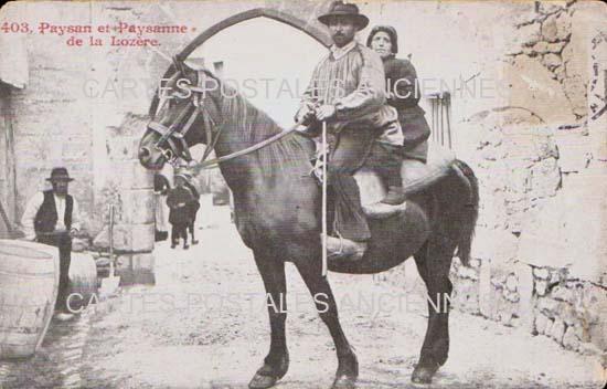 LANGUEDOC ROUSSILLON LOZERE Paysan et Paysanne CARTE POSTALE ANCIENNE