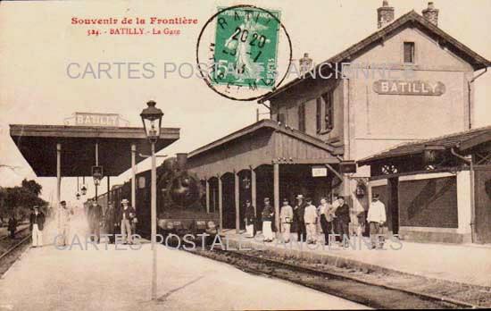 LORRAINE MEURTHE ET MOSELLE CARTE POSTALE ANCIENNE BATILLY La Gare