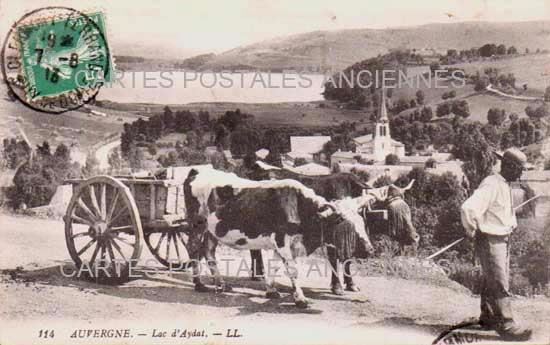 PUY DE DOME AUVERGNE CARTE POSTALE ANCIENNE LAC AYDAT