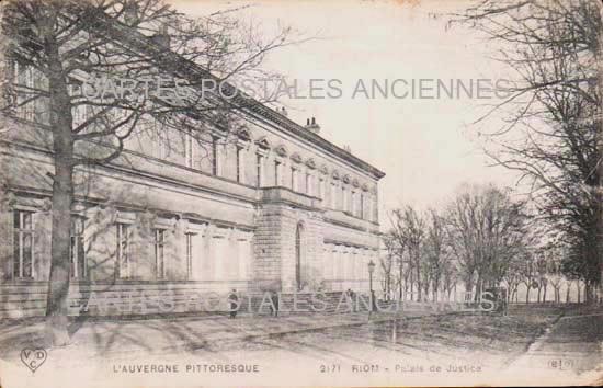 PUY DE DOME AUVERGNE CARTE POSTALE ANCIENNE RIOM LE PALAIS DE JUSTICE